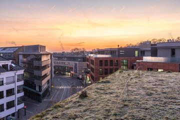 Sonnenaufgang über Bürogebäuden in Mainz an einem Wintermrogen