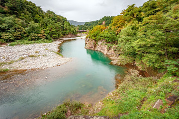 Shokawa River, Shirakawa-go near takayama Japan in early Autumn