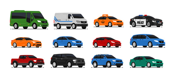 Photo sur Aluminium Cartoon voitures Car icons collection. Vector illustration in flat style. Urban, city cars and vehicles transport concept. Isolated on white background. Set of of different models of cars