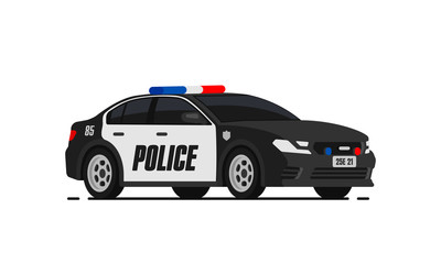 Black police car icon. City patrol transport isolated on the white background. Flat style.