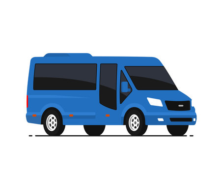 Mini bus vector illustration in flat style. Isolated city mini van on white background. View from side.