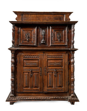 Italian old vintage antique buffet sideboard credenza carved with drawers isolated on white