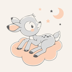 Vector hand drawn illustration of a cute deer, sitting on the cloud.