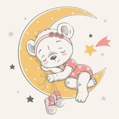 Vector illustration of a cute baby bear, sleeping on the moon among the stars.