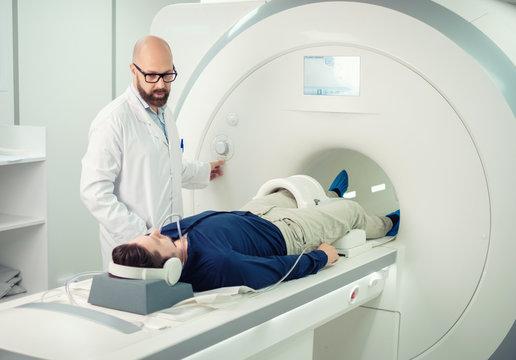 Patient visiting MRI procedure in a hospital