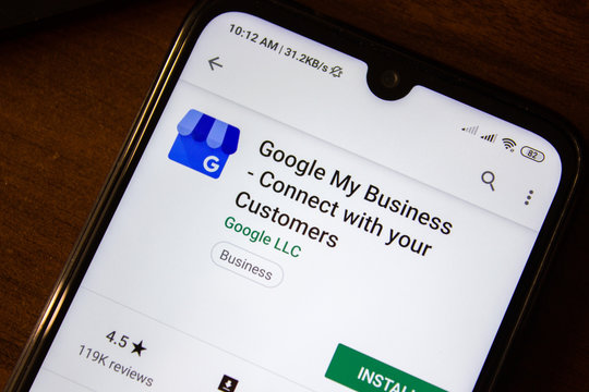 Ivanovsk, Russia - July 07, 2019: Google My Business - Connect with your Customers app on the display of smartphone or tablet.