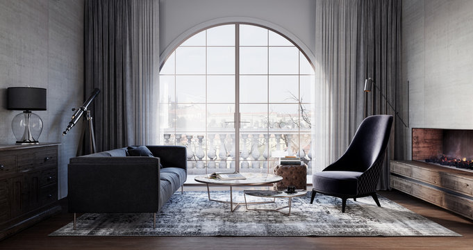 Modern living room interior design with terrace 3D Rendering