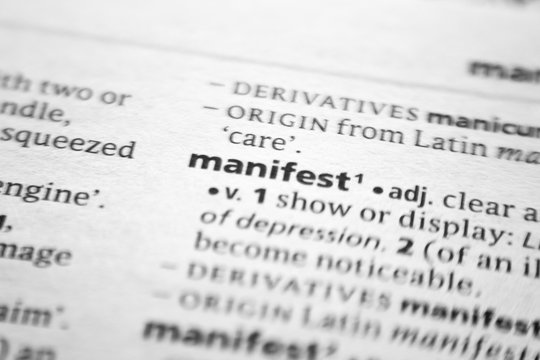 Word or phrase Manifest in a dictionary.