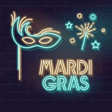 Neon typography for mardi gras canrival with old style mask and sparkling candle. Vector line art illustration on brick wall background. Isolated elements for poster, banner.