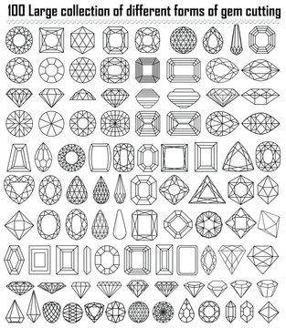 Illustration collection of different shapes and cut gemstones.