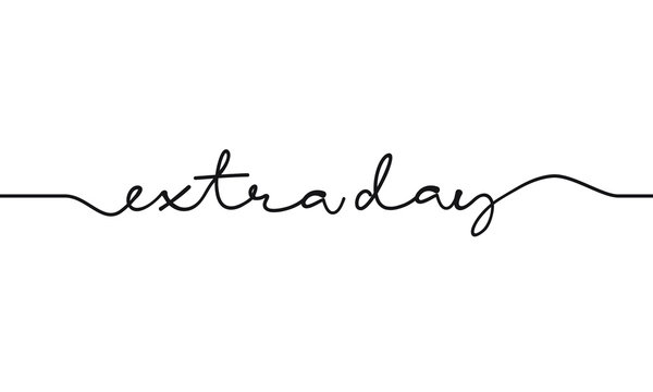 text extra day. script handwritting on white background