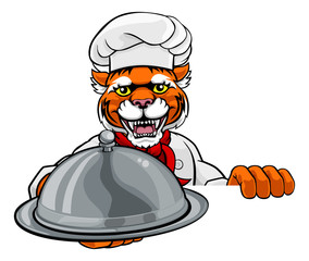 A tiger chef mascot cartoon character holding a silver platter cloche dome of food peeking round a sign