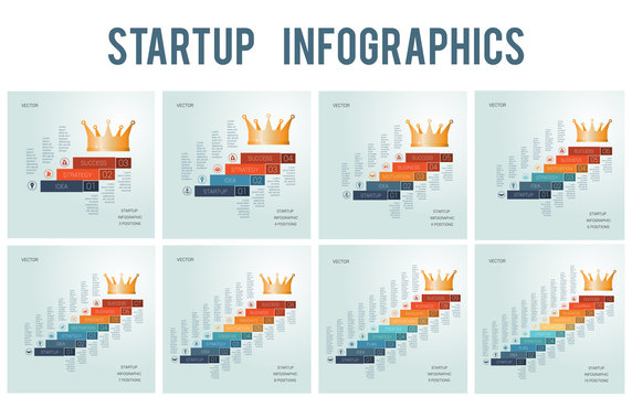 Templates for business projects, startup success for 3 4 5 6 7 8 9 10 positions, Conceptual infographics steps up stairs to the crown,  possible to use for workflow, banner, diagram, web design