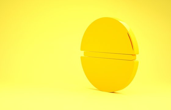 Yellow Death star icon isolated on yellow background. Minimalism concept. 3d illustration 3D render