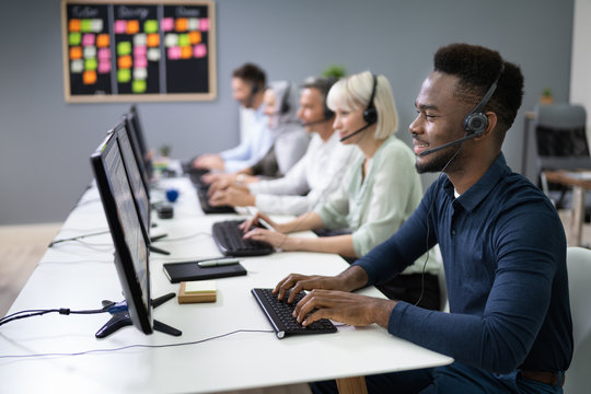 Male Customer Services Agent In Call Center