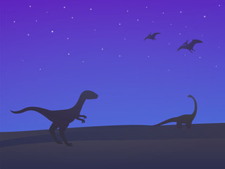 dinosaurs, velociraptor, sauropod and pterodactyls at night vector illustration