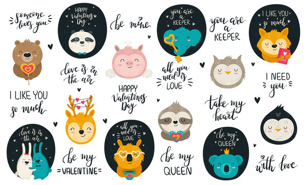 Vector collection of hand drawing cute animals and lovely slogans for Valentine's day