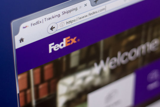 Ryazan, Russia - March 01, 2018 - Homepage of FedEx shipping service on a display of PC, web adress - fedex.com