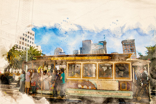 Watercolor painting of a cable car in San Francisco, California, USA.