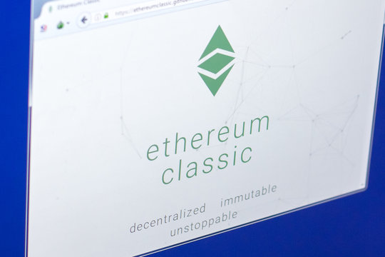 Ryazan, Russia - March 29, 2018 - Homepage of Ethereum Classic on PC display, adress - ethereumclassic.org.