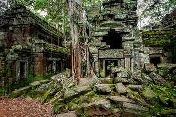 Temples of Angkor Wat  where the jungle has partially overgrown the ruins near the city of Siem Reap in Cambodia Fototapete