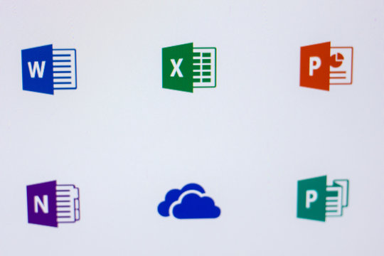 Ryazan, Russia - April 16, 2018 - Logos of Microsoft programms on the display of PC.
