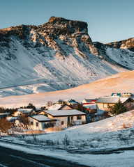 A little town caled Vik is located in the southern Iceland. It is very beautiful place to visit all year around. Gorgeous scenery around, surrounded by mountains and Black Sand Beach nearby