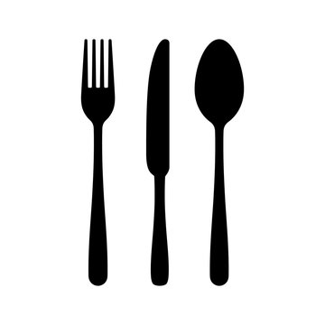 Cutlery silhouettes. Fork spoon knife black icon set. Black silverware sign. Vector utensil illustration restaurant symbols or label like concept cooking food