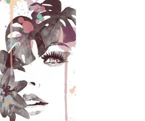 Fototapeta Woman face watercolor. abstract woman portrait. beautiful woman. fashion illustration. watercolor painting obraz
