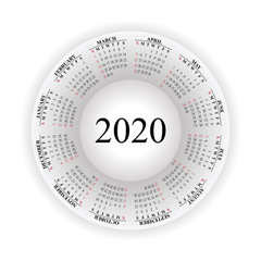 Round calendar for 2020 on white background.
