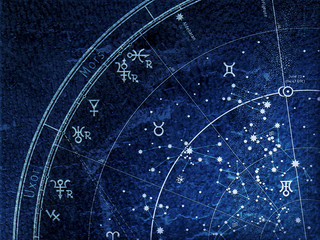 Fragment of The Astronomical Celestial Atlas of Night Sky with Stars and Planets (Alternate Ultraviolet Blueprint: grunge vintage remake).