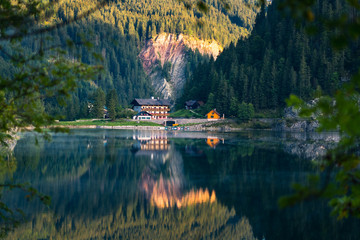 Lake Gosausee is one of the most beautiful places in Austrian Alps, The scenery around is just breathtaking, you can see beautiful mountains around and also the Dachstein glacier. Tourism in Austria