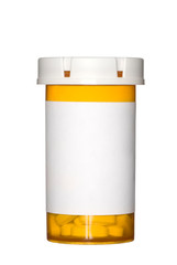 Pill bottle on white background