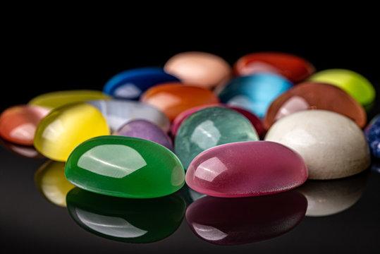 Colored Natural Gemstones. Semiprecious Stones
