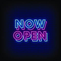 Now Open Neon Signs Style Text Vector