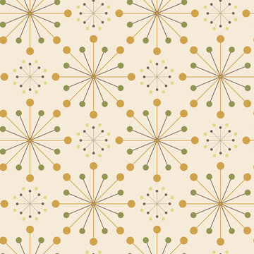Symmetrical radial seamless pattern of dots. Mid-century style.