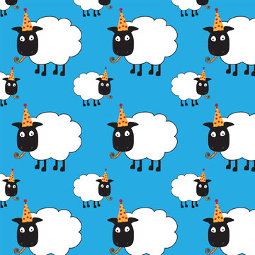Cute seamless repeat pattern of sheep with party hat and blower.