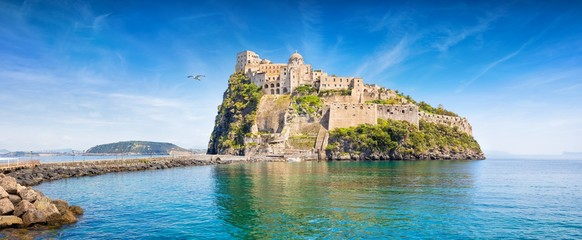Aragonese Castle is most popular landmark in Tyrrhenian sea near Ischia island, Italy.