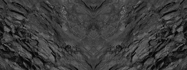 Black grunge background. Abstract stone background. Beautiful mountain texture pattern. Stone grunge banner. Dark gray rock backdrop. Wall mural