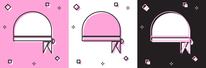 Set Pirate bandana for head icon isolated on pink and white, black background.  Vector Illustration