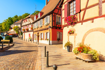 Beautiful traditional colorful houses in picturesque Ribeauville village, Alsace wine region, France