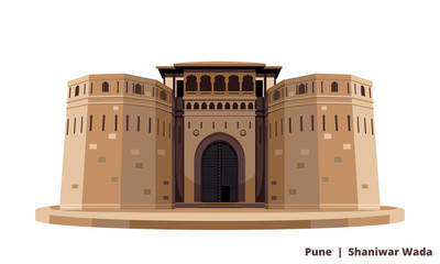 Historical Icon Pune shaniwar wada isolated vector Fototapete