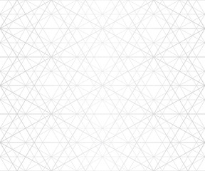 Silver lines seamless pattern. Vector geometric texture with delicate grid, lattice, net, thin diagonal lines, hexagons, triangles. Abstract white and gray graphic background. Illustration of platinum