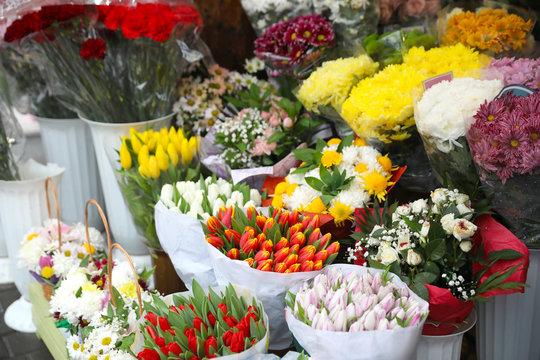 Assortment of beautiful flowers at wholesale market