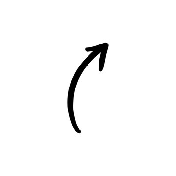 Right curved arrow doodle icon isolated on a white background.