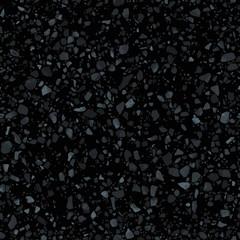 Black terrazzo flooring seamless texture. Realistic vector pattern of dark mosaic floor with natural stones, granite, marble, quartz, concrete. Classic Italian floor. Realistic repeatable design