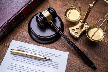Gavel Golden Scale And Law Book