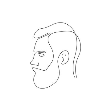 One line bearded man head design silhouette.Hand drawn minimalism style vector illustration