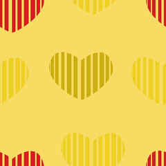 Seamless pattern of red and gray hearts on a yellow background