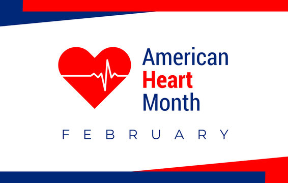 National american heart month in February. American flag and heart concept design. For banner, flyer, poster and social medial and hospital use. Vector illustration.